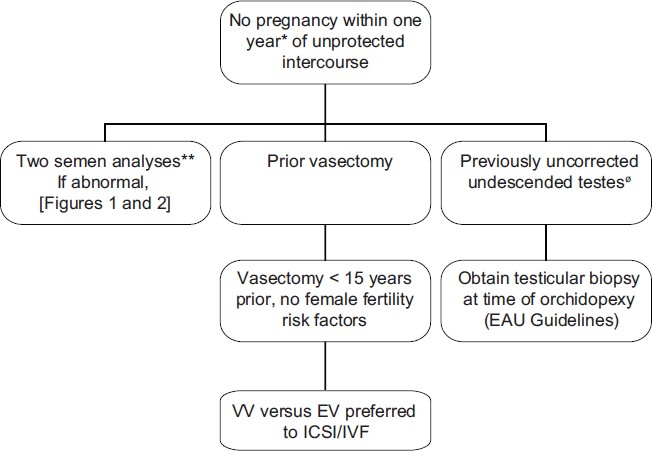 Figure 3: Summary of management guidelines for infertile males with a prior vasectomy or uncorrected undescended testes. *Earlier evaluation may be warranted if male or female infertility risk factors present or if the male questions his fertility potential. ** EAU guideline recommends second semen analysis if first noted to be abnormal. Sperm retrieval / ICSI is preferred to surgical treatment if (1) advanced female age is present, (2) female factors requiring IVF are present (3) the chance for success with sperm retrieval / ICSI exceeds the chance for success with surgical treatment or (4) sperm retrieval / ICSI is preferred by the couple for financial reasons. Ø Ideally treated at less than 1 year of age.