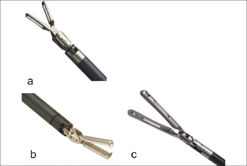Figure 2: Different types of Endowrist<sup>™</sup> grasping forceps available from Intuitive Surgical, Inc., for use during robotic cystolithotomy. (a) ProGrasp<sup>™</sup> forceps. (b) Cobra forceps with serrated inner jaws. (c) Extended length Graptor<sup>™</sup> (grasping retractor) forceps. (Courtesy of Intuitive Surgical Inc., Sunnyvale, CA.)
