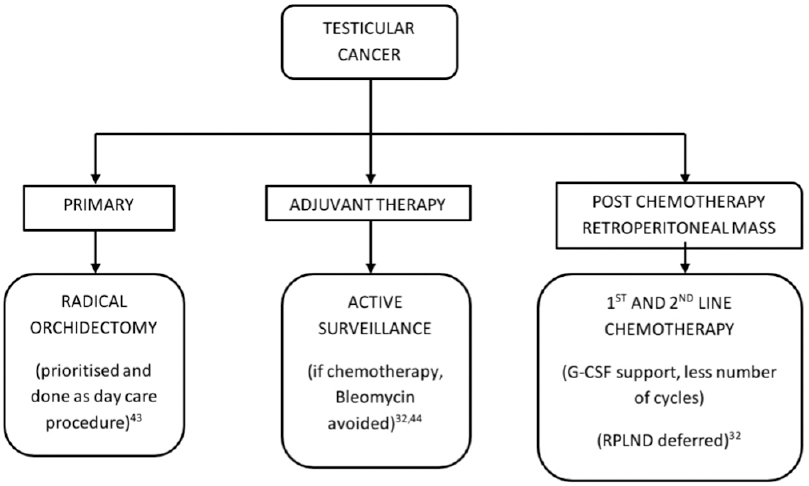 Figure 5: Algorithm for management of testicular cancer in the COVID-19 pandemic. G-CSF = Granulocyte colony stimulating factor, RPLND = Retroperitoneal lymph node dissection